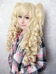 blonde mix ponytail UK - HOT sell Free Shipping >>> Blonde Curly Pigtails Pony Tails Adult Wig 5.6