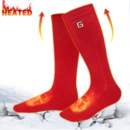 Discount football christmas gifts - GV 3.7V Electric Heated Socks With Rechargeable Battery Powered Warm Christmas Gift Winter Warm Socks For Hunting Skiing