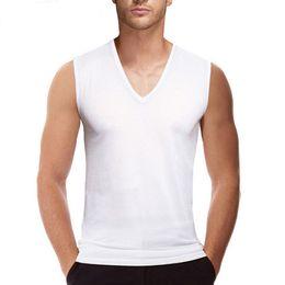 $enCountryForm.capitalKeyWord Australia - Mens Undershirts White Sleeveless Shirt V Neck Underwear Undershirt Bodybuilding Vest Fitness Apparel Plus Size 5~6XL