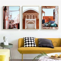 vintage art canvas prints Australia - Morocco Door Vintage Poster Nordic Canvas Painting Wall art Posters and Prints Abstract Pictures For Living Room Decoration