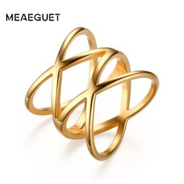 "$enCountryForm.capitalKeyWord Australia - stainless steel Women Stainless Steel Gold Color Rings for Double""X\"" Cross Statement Ring Jewelry"