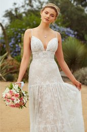 shirt beach spaghetti wedding dress 2019 - Vestido de Novia Spaghetti Straps Lace Appliques Wedding Dresses Sexy V Neck Backless Floor Length Bohemian Beach Bridal