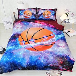 teen bedding sets full NZ - 3D Basketball Flame Bedding Set For Teen Boys Sports Duvet Cover 3PCS 1 Duvet Cover 2 Pillow Shams Galaxy Bedspreads Coverlets NO Comforter