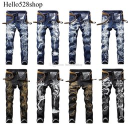 vintage dragons UK - Hello528shop Vintage Men's Jeans Skinny Youth Slim Fit Personality Chinese Dragon Tiger Printed Blue Trousers Pants Boys