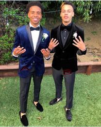 White Corduroy Suit Australia - Blue velvet Groom Tuxedos 2019 Wedding Suits Prom Men Suits Two types 2 Pieces Suit ( Jacket +Pants+Bow)
