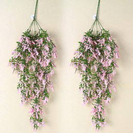 lavender home decor NZ - Plants Romantic Artificial Home Decor Simulation Lavender Garland Ivy Flower Vine Wall Hanging Party Leaves Gifts Wedding Stamen