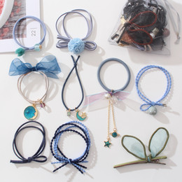 cute hair banding Australia - 9pcs set Cute Hair Rubber Bands + Pin Space Universe Girl Womens Bracelet Hair Rope Stretchy Extensions Rings