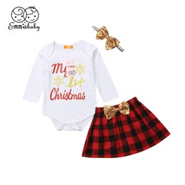 8c8df5983b3c Newborn Baby Girls Clothing Set Toddler Kid My First Christmas Bodysuit  Plaid Party Tutu Skirt Sequin Bow Headband 3Pcs Outfit Y18120801