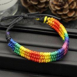 Rainbow LGBT Pride Charm Bracelet Pulseras de cuerda de moda Accesorios de regalo de joyería en venta