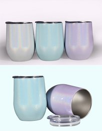 $enCountryForm.capitalKeyWord Australia - 12oz Stainless Steel Wine Glasses Rainbow Tumbler Egg Shape Egg Cups with Lid Shatterproof Vacuum Stemless Cup Free shipping