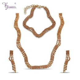 $enCountryForm.capitalKeyWord NZ - wholesale Cheap India Charms Fashion Jewelry Sets Champagne Color Stone Copper Handmade Chain Necklace Bracelet Earrings For Women
