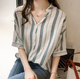 $enCountryForm.capitalKeyWord Australia - New casual loose-fitting Pullover short-sleeved bat sleeve V-neck shirt striped jacket for summer women's wear in 2019
