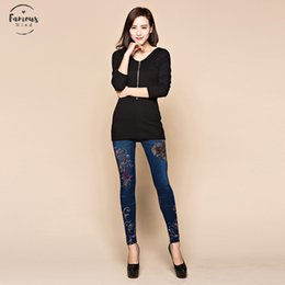 Leggings pants jeans coLor online shopping - Slim Fashion Women Leggings Faux Denim Jeans Leggings Sexy Long Floral Printing Casual Faux Denim Leggings Pencil Pants Fleece