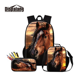 Discount horse cream - 2019 New Arrival Horse Image Prints on School Bags for Boys Cute Knapsack with Lunch Case and Pencil Pouch 3 PCS in 1 Se