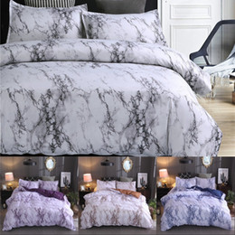 Marble Pattern Bedding Sets Polyester Bedding Cover Set 2 3pcs Twin Double Queen Quilt Cover Bed linen (No Sheet No Filling) on Sale