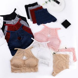 lace halter bralette UK - Lace Hollow Bra Set Solid Color Halter Sexy Beauty Back Knitted Anti-light Wire Free Padded Cotton Bralette Bra & Brief Sets