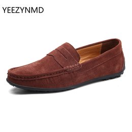 Large Size Leather Shoes NZ - Men Casual Fashion Male Shoes Suede Leather Men Loafers leisure Moccasins Slip On Men's driving Shoes Large Size 6.5-11