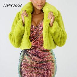 White Faux Fur Shorts Australia - Helisopus Fashion Lime Green Short Women Jacket Winter Warm Faux Fur Coat Fluorescent Cardigan Cropped Jacket Fluffy Teddy Coats