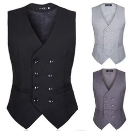Discount chinese design suits - New Summer Men Suit Armor British Style And Korean Version Of Black Double Breasted Groom Vest Men Suit Waistcoat