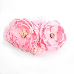 $enCountryForm.capitalKeyWord NZ - DIY baby headbands newborn designer headband pearl flower girls designer headbands rose rhinestone hair accessories for girls headband A5783