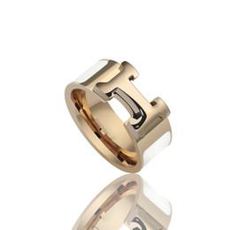 Vente en gros 316L Titane Acier Bague mode d'émail quatre couleurs femmes et homme anneau marque H d'origine Bijoux Livraison gratuite