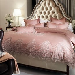 Queen Lace Sheet Set NZ - Egyptian cotton Lace luxury royal bedding sets tribute siky embroidery bedclothes 4 6pcs queen king bed sheet set duvet cover