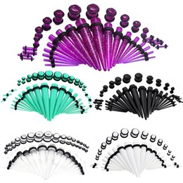 tunnel kit NZ - Acrylic Ear Gauge Taper And Plug Stretching Kits Flesh Tunnel Expansion Body Piercing Jewelry 36pcs set