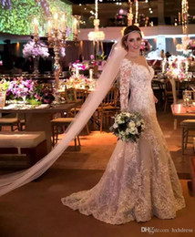 $enCountryForm.capitalKeyWord Australia - 2019 Vintage Mermaid Lace Wedding Dresses Appliques Sequins Long Sleeves Wedding Gowns Sweep Train Covered Buttons Bridal Dress Plus Size