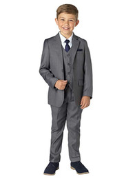 Grey Royal Blue Suit for Boy Costume Kids Wedding Suit Blazer Boys Suits for Weddings Boys Tuxedo 5pcs Set(Jacket+Pants+Vest+Shirt+Bow Tie)