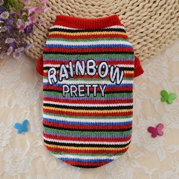 chihuahua sweaters wholesale UK - Winter Pet Clothes For Small Dogs Clothing Pets Coat Rainbow Sweater For Dog Sweaters Vest Clothing Teddy Chihuahua Jacket Dog Apparel