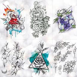 $enCountryForm.capitalKeyWord Australia - Triangle Inkjet Rose Waterproof Temporary Tattoo Sticker Minimalist Flower Lily Tattoos Body Art Arm Hand Women Fake Tatoo