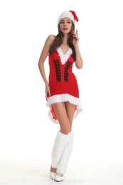 Wholesale hot santa costumes women for sale – halloween Hot Sale Women Christmas Dress Christmas Decoration Sex Red Costume Stage Clothes Party Santa Claus Princess Dress