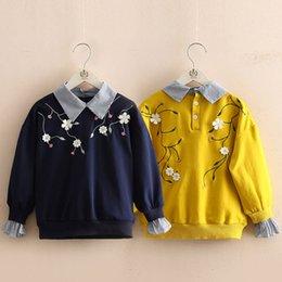 Kids sweatshirts for girls online shopping - 2018 Autumn Spring Years Teenage Floral Embroidery Turn down Collar Patchwork Fake Sweatshirt For Kids Baby Girls