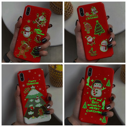 iphone santa 2019 - Merry Christmas Hard PC Case For iphone XS MAX XR X 8 7 Plus 6 6S Luminous Glow in Dark Santa Claus Hat Tree Elk Snow Sn