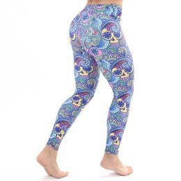 03518210634b2c Women 2019 Gothic Skull Print fitness Leggings girls fashion Sport Workout  winter leggins mujer Elastic Slim Black Stretch Pants