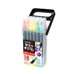 Venda quente explosão 18 cor lavagem cabeça mole dupla cabeça aquarela caneta set crianças estudante pintura caneta venda por atacado