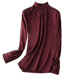 Chinese  Women Nature Silk Elastic Satin Shirts 2019 Spring New Long Sleeves Blouses Elegant Silk Shirts Luxury Casual Tee manufacturers