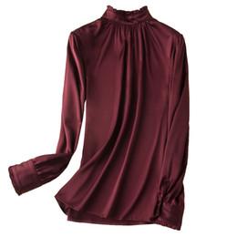 04d24a3a40442c Women Nature Silk Elastic Satin Shirts 2019 Spring New Long Sleeves Blouses  Elegant OL Silk Shirts Luxury Casual Tee