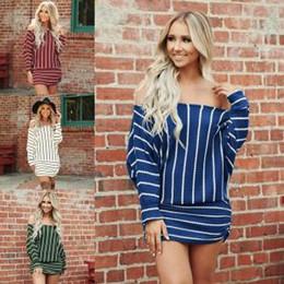 strip off women 2019 - Women Off Shoulder Dress Slash Collar Strips Casual Loose Loose Sleeve Clothing Medium Style Coat LJJV196 discount strip