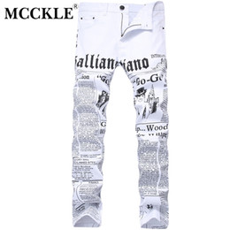 Wholesale jeans paint for men resale online – designer MCCKLE Autumn Men Denim Trousers White Printing Newspaper Casual Pants Mens Painted Skinny Jeans For Man size