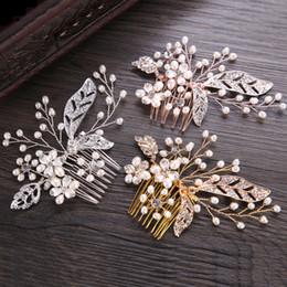2018 neue europäische und amerikanische heiß-Verkauf Haar Kamm handgewebte Süßwasser Perle Headwear Haar Stecker Braut Schmuck Großhandel