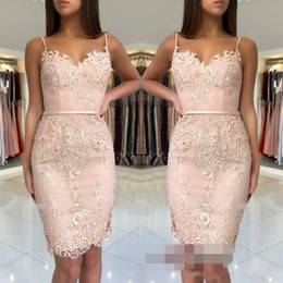 pink dress patterns lace NZ - 2020 Short Mini Blush Pink Homecoming Dresses Spaghetti Straps Sweetheart Lace Appliques Sheath Plus Size Party Graduation Cocktail Gowns