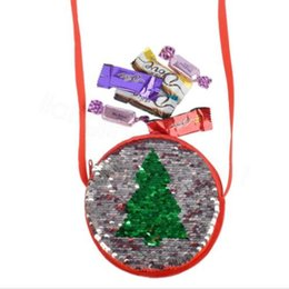 children crossbody bag NZ - Kids Christmas Bags Girl Crossbody Shoulder Sequins Bag Girls Children Coin Change Bag Christmas Tree Printed Double Color Purse WY192