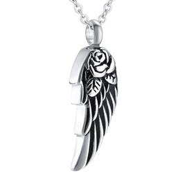 $enCountryForm.capitalKeyWord UK - Stainless Steel Angel Wings Flower Waterproof Pendant Cremation Urn Necklace Ash Memorial Keepsake Jewelry for men  women