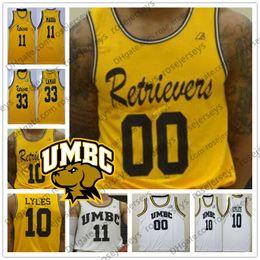 Yellow Basketball Jerseys Canada - Custom NCAA UMBC College Basketball Any Number Name #10 Jairus Lyles 11 KJ Maura 33 Arkel Lamar 3 KJ Jackson Yellow White Jersey