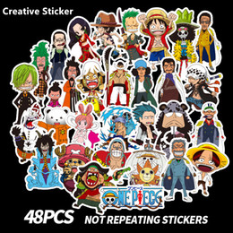 Discount luggage for laptops - 48PCS\Lot Anime One Piece Stickers Cartoon For Car Motorcycle Skateboard Luggage Notebook Laptop Sheet Sticker Decal Toy