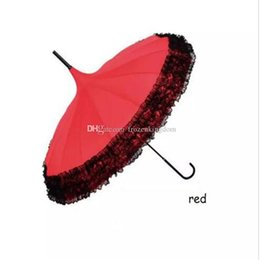 $enCountryForm.capitalKeyWord Australia - New Elegant Long-handle Lace Umbrella Fancy sunny and rainy Pagoda Umbrellas 7 colors available free shipping a83-a90