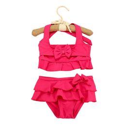 $enCountryForm.capitalKeyWord UK - New 2019 Two-Piece Grils Swimwear Rose,Green,Yellow Solid Cute Children Girls Summer Swimsuit Beachwear Swimming 7