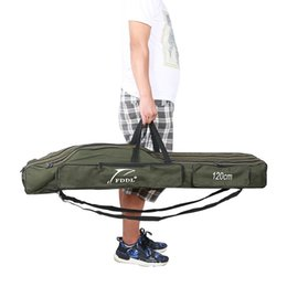 rods bags NZ - Durable Fishing Rod Bag Portable Folding Fishing Pole Reel Gears Tools Organizer Storage Bag Canvas 3 Layer Rods Travel Carrier #878696