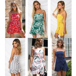 $enCountryForm.capitalKeyWord Australia - Fashion- Braces Skirts Chiffon Slip dress Sexy Beach holiday Irregular Short Skirt Leaf Print Cute One Piece Mini Skirts Summer Dress